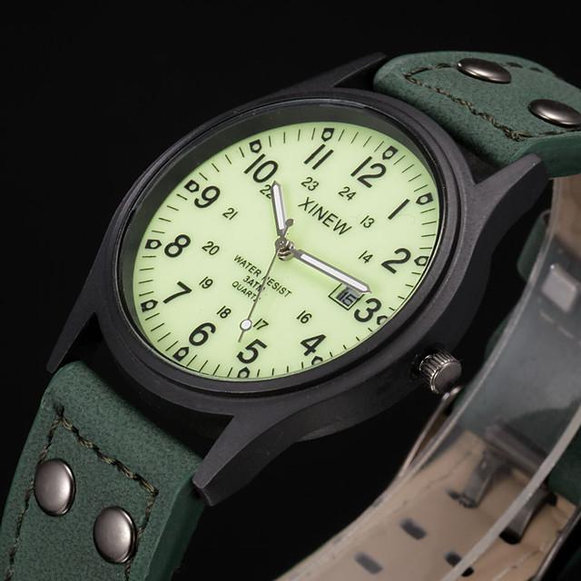 Муж. Спортивные часы Модные часы Армейские часы Кварцевый На каждый день Защита от влаги Аналоговый Зеленый / Кожа / Календарь / Фосфоресцирующий