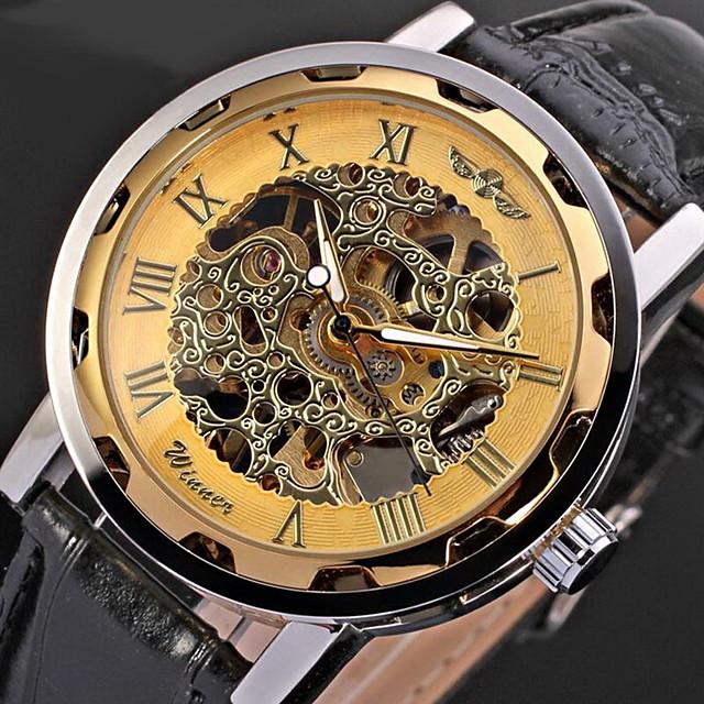 WINNER Bărbați Ceas Schelet Ceas de Mână ceas mecanic Swiss Mecanism manual Stil Clasic Piele PU Matlasată Negru Gravură scobită Cool Analog Auriu Negru+Auriu Auriu+Argintiu