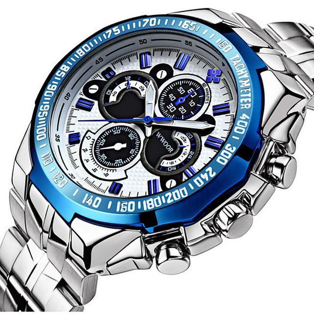 Муж. Наручные часы Кварцевый Японский кварц Роскошь Защита от влаги Аналоговый Белый Черный Синий / Нержавеющая сталь / Нержавеющая сталь / Два года / Календарь / Фосфоресцирующий