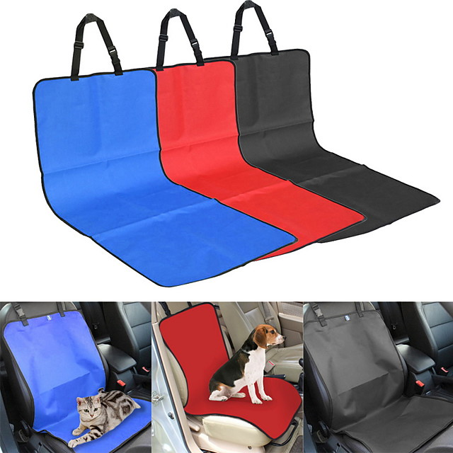 Cat Dog Car Seat Cover Seat Covers & Accessories Waterproof Foldable Durable Plaid / Check Solid Colored Textile Black Red Blue / Safety