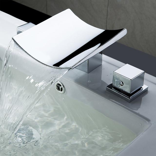 욕실 싱크 수도꼭지 - 워터팔 / 와이드 스프레드 크롬 와이드 스프레드 두 핸들 세 개의 구멍Bath Taps