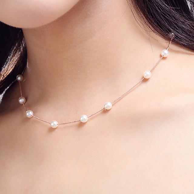 Para Mujer Blanco Perla Collar Cadena única