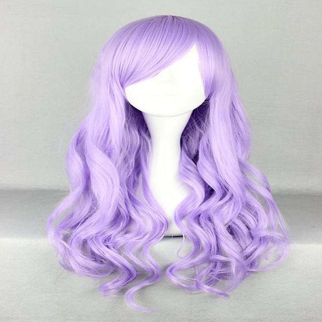 Косплэй парики Парики из искусственных волос Маскарадные парики Волнистый Волнистый С чёлкой Парик Очень длинный Фиолетовый Искусственные волосы Жен. Боковая часть Фиолетовый радость волос