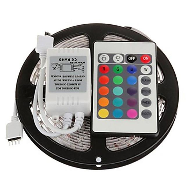 zdm 5m 300 x 2835 8 mm rgb led trake svjetlo fleksibilne i ir 24key daljinski upravljač povezujuće samoljepljivo mijenjanje boja