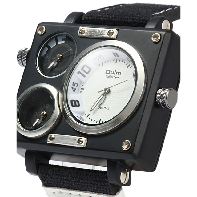 Bărbați Ceas Sport Ceas Militar  Ceas de Mână Quartz Lux Calendar Analog Alb Negru Maro / Doi ani / Oțel inoxidabil / Zone Duale de Timp  / Doi ani