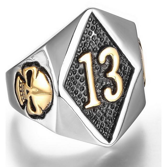 Inel Auriu Argintiu Oțel titan Craniu Punk Armată 8 9 10 11 12 / Bărbați