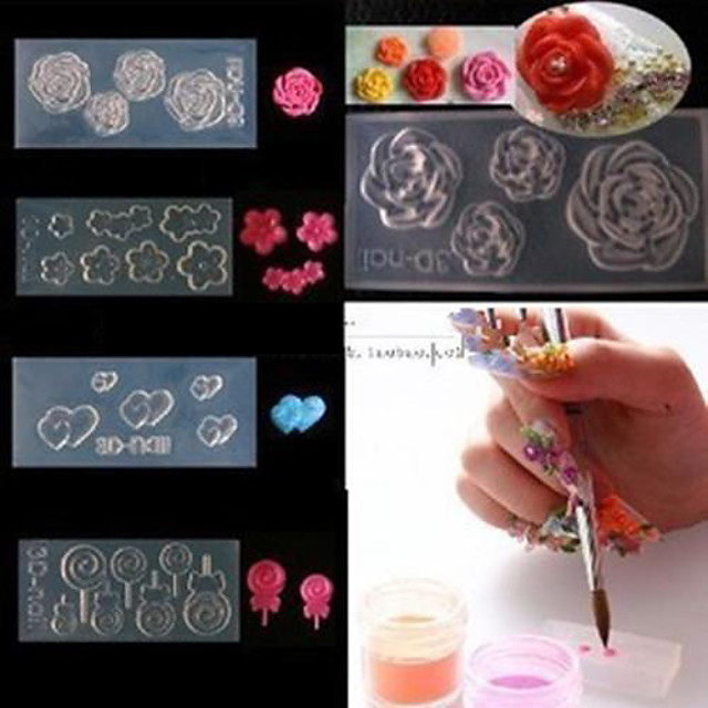 4 pcs 3D Tipare Unghii Acrilice Aplicația de transfer de apă nail art pedichiura si manichiura Încântător Floare / Desen animat / Modă Zilnic