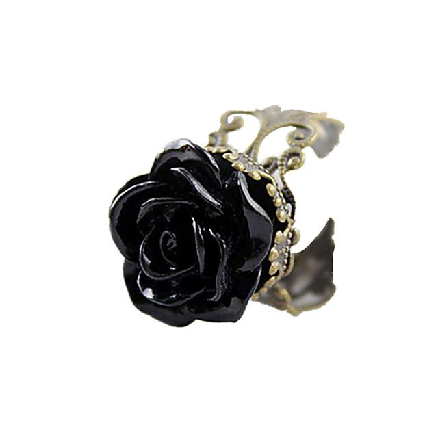 Pentru femei Inel de declarație Resin Negru Teracotă Reșină Aliaj femei Deschis Zilnic Bijuterii Trandafiri Floare Ajustabil