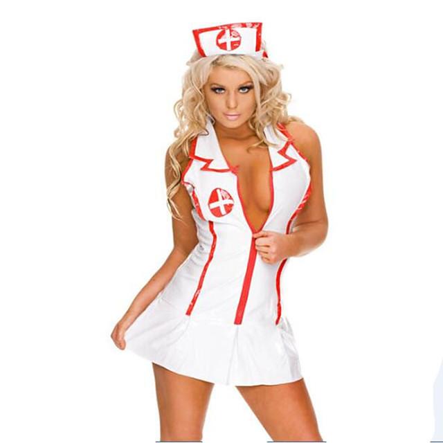 Žene Karijera kostime Medicinske sestre Bolničke usluge Uniforme Spol Cosplay Nošnje Kostim za party Color block Suknja Šešir / Spandex