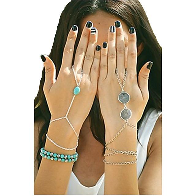 Pentru femei Turcoaz Brățări cu Talismane Ring Bracelets Sclavii de aur femei Design Unic Modă Turcoaz Bijuterii brățară Bronz / Auriu / Argintiu Pentru Petrecere Zilnic Casual Costume Cosplay