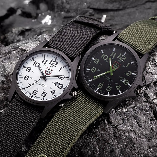 Pentru cupluri Ceas de Mână câmp de ceas Casual Cool Analog Negru Verde Vânătoresc Negru / Alb / Un an / Mare Dial