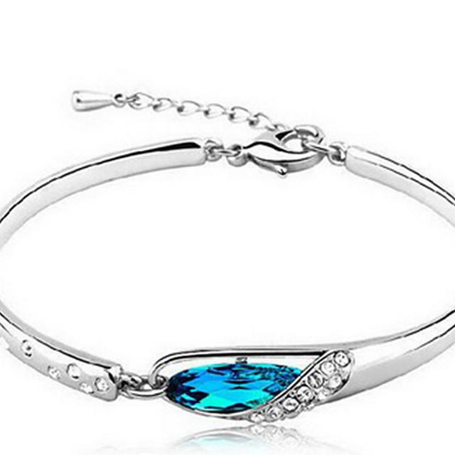 Dames Kristal Armbanden met ketting en sluiting Ketting Natuur Sterling zilver Armband sieraden Blauw Voor Lahja mielitietty