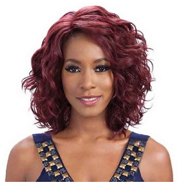 Synteettiset peruukit Laineita Laineita Peruukki Keskikokoinen tumma viini Synteettiset hiukset Naisten Punainen