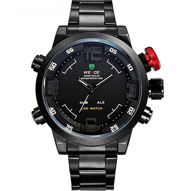 WEIDE Bărbați Ceas Sport Ceas La Modă Ceas de Mână Quartz Quartz Japonez Oțel inoxidabil Negru 30 m Rezistent la Apă Alarmă Calendar Analog - Digital Lux - Galben Rosu Albastru Doi ani Durată de