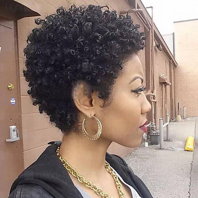 Mélange de cheveux humains Perruque Court Bouclé Baie Coupe Lutin Coiffures courtes 2020 Nature Noir Bouclé Fabriqué à la machine Pour Cheveux Africains Femme Noir Naturel Moyen Brun vin foncé