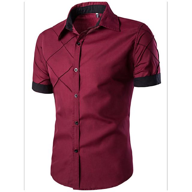 Voor heren Effen Overhemd Standaard Korte mouw Dagelijks Slank Tops Spread boord Wit Zwart Wijn / Zomer