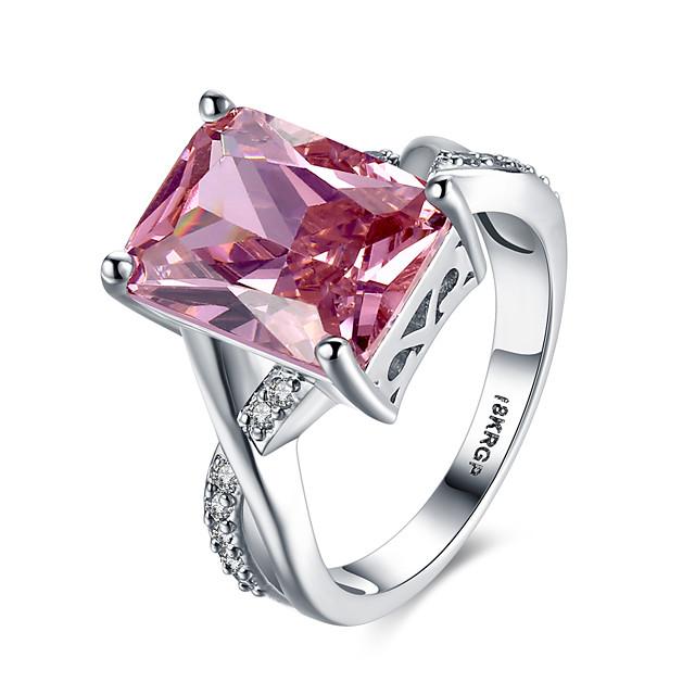 Δαχτυλίδι Πασιέντζα Ροζ Ανοικτό Ατσάλι Προσομειωμένο διαμάντι Καρδιά Love Δαχτυλίδι κοκτέιλ Πολυτέλεια 6 7 8 9