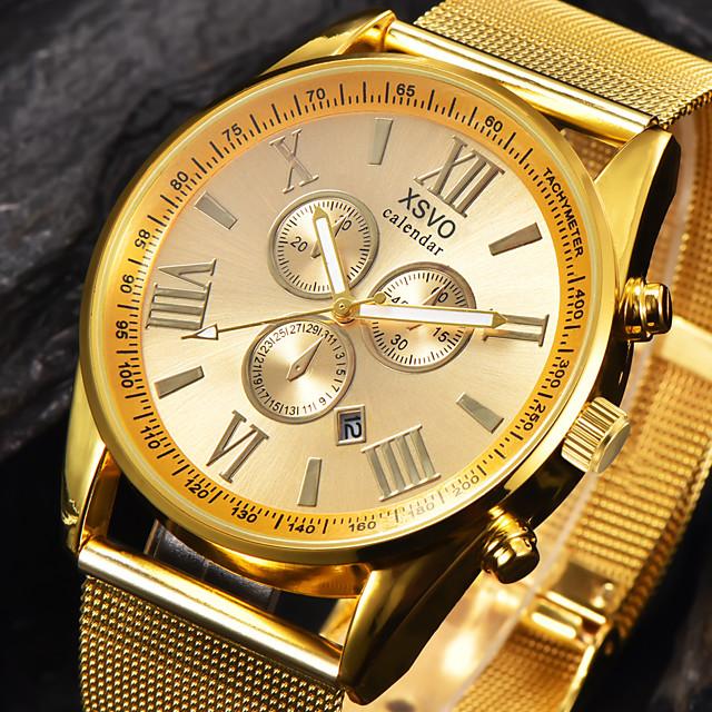 בגדי ריקוד גברים שעוני ספורט שעונים צבאיים שעון יד קווארץ גדול קסם לוח שנה אנלוגי שחור / כסוף שחור זהב / מתכת אל חלד / צג גדול