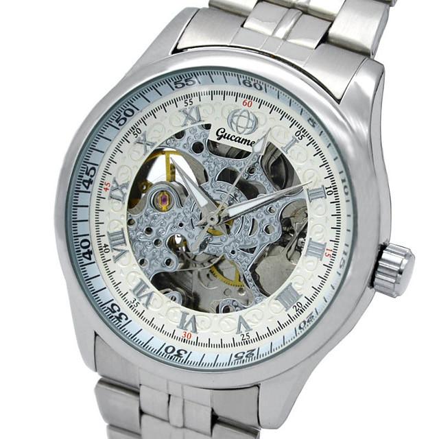 Hombre Reloj de Moda Reloj Esqueleto Cuarzo Analógico Negro y Oro El oro / blanco Negro / Plata / Acero Inoxidable