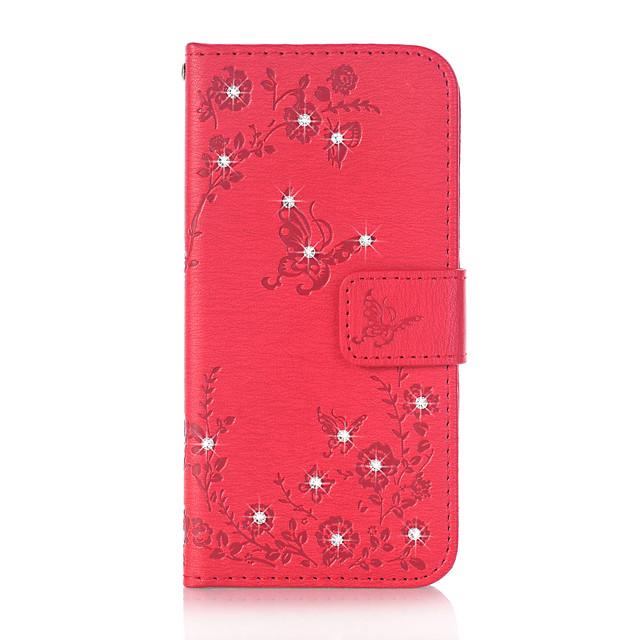 غطاء من أجل Samsung Galaxy J5 (2016) / J3 (2016) / Grand Prime محفظة / حامل البطاقات / حجر كريم غطاء كامل للجسم فراشة قاسي جلد PU