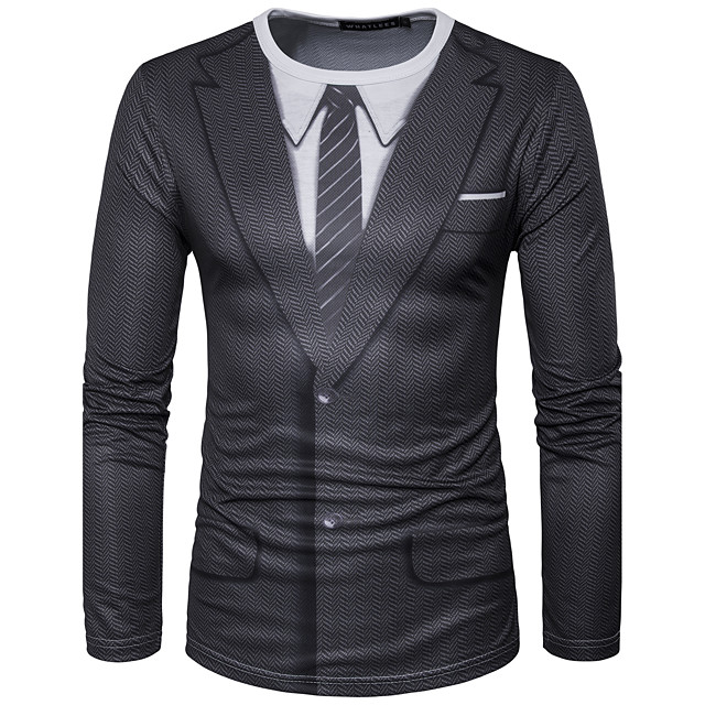 Herr Grafisk Simulering T-shirt Tryck Långärmad Dagligen Blast Streetchic Rund hals Svart / Sport