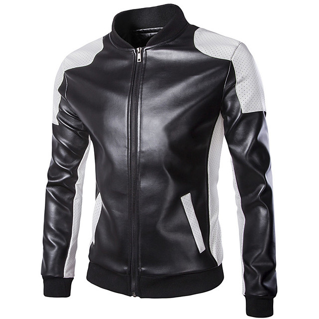 18LBY6FH Motorcycle Clothes Jacket for PU Leather All Seasons Windproof