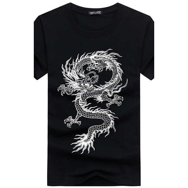 Herr Djur Plusstorlekar T-shirt Tryck Kortärmad Dagligen Smal Blast Bomull Grundläggande Kineseri Rund hals Vit Svart Blå / Sport / Sommar