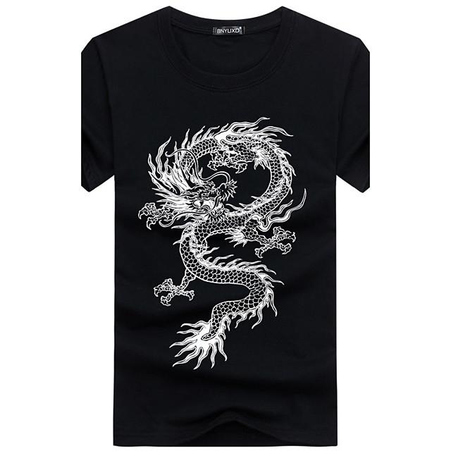 Men's Daily Plus Size T-shirt Animal Print Short Sleeve Slim Tops Cotton Basic Chinoiserie Round Neck White Black Blue / Sports / Summer