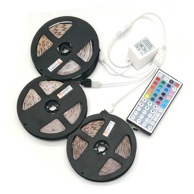 3x5m Strisce luminose RGB 450 LED 5050 SMD 10mm 1 telecomando da 44Keys Connettore cavo 1 a 2 1 set Colori primari Accorciabile Collagabile Auto-adesivo 12 V