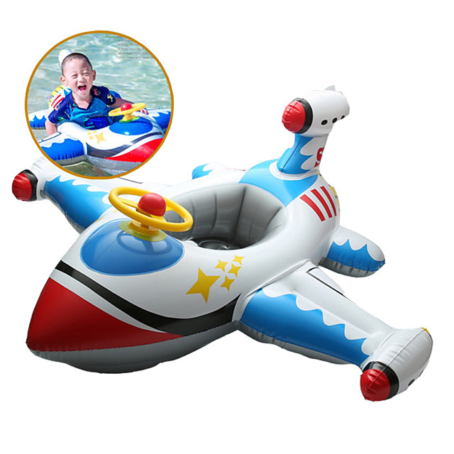 Jouets Gonflables de Piscine Piscine gonflable Monter sur flotteur de piscine PVC Eté Avion Bleu Enfant Adulte