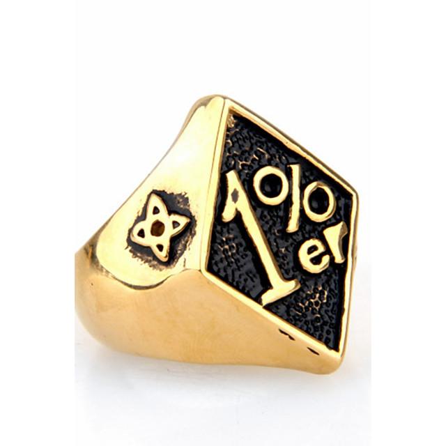 Erkek Bildiri Yüzüğü Yüzük - Titanyum Çelik Kişiselleştirilmiş, Punk, Rock Yıldızı, Moda, Hiphop, Euramerican 8 / 9 / 10 / 11 / 12 Altın / Siyah / Kırmzı Uyumluluk Yılbaşı Hediyeleri Parti Özel Anlar