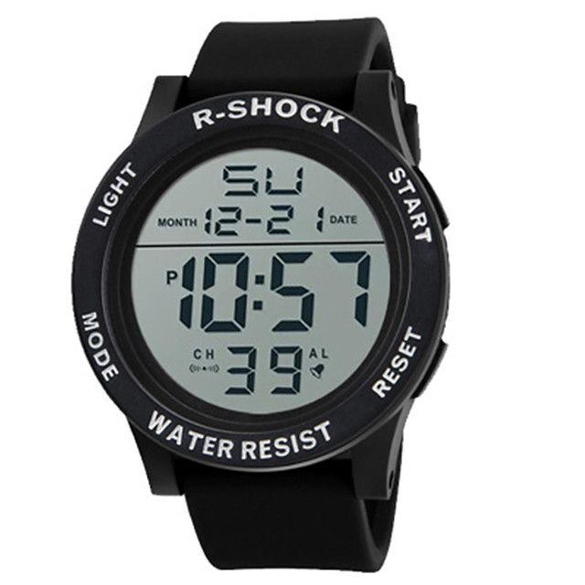 Homens Relógio Esportivo Relogio digital Digital Amuleto Digital Branco Preto Azul / Silicone