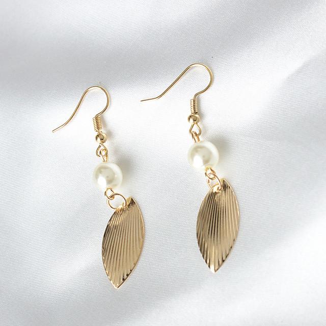 Kadın's Damla Küpeler Leaf Shape Moda Euramerican Küpeler Mücevher Altın Uyumluluk Günlük
