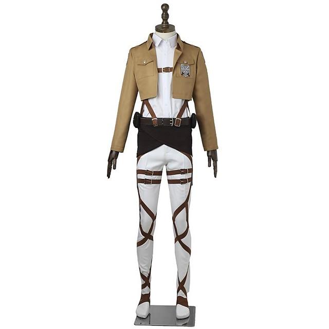 Inspirat de Atac pe Titan Mikasa Ackermann Anime Costume Cosplay Japoneză Costume Cosplay Mată Manșon Lung Vârf Pantaloni Șorț Pentru Bărbați Pentru femei / Centură / Mai multe accesorii / Tricou