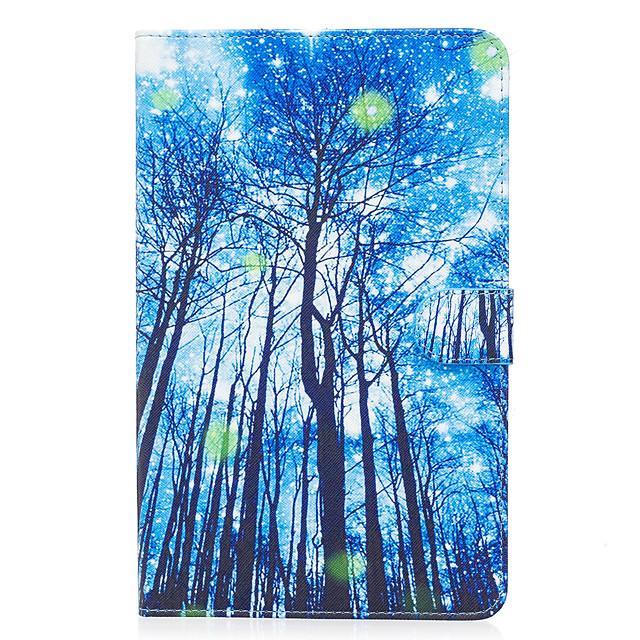 Pouzdro Uyumluluk Samsung Galaxy Cüzdan / Kart Tutucu / Satandlı Tam Kaplama Kılıf ağaç Sert PU Deri için Tab E 9.6