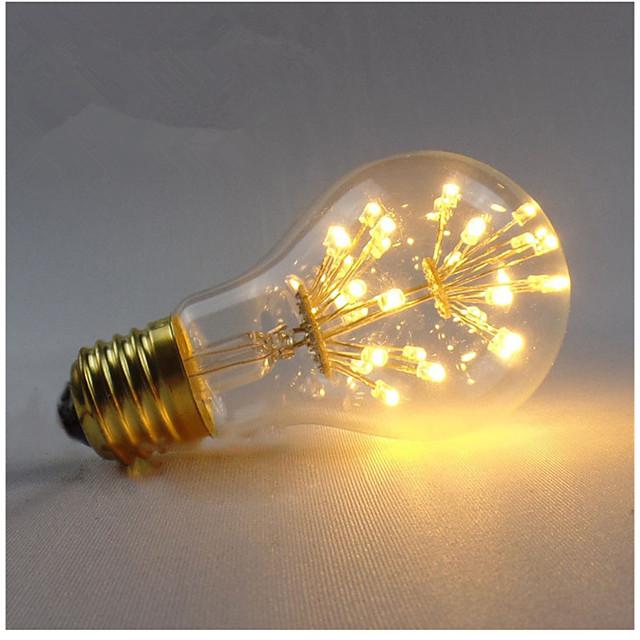 1pc 3 W Ampoules à Filament LED 200-300 lm E26 / E27 A60(A19) 30 Perles LED SMD Décorative Étoilé Blanc Chaud 85-265 V / 1 pièce / RoHs