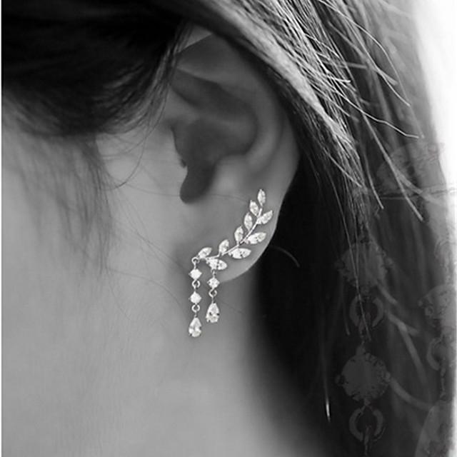 Pentru femei Zirconiu Cubic Cercei Stud Cățărătorii de urechi Căști de cățărare Leaf Shape Picătură femei Simplu Ciucure Elegant blinging De Fiecare Zi cercei Bijuterii Auriu / Argintiu Pentru Nunt