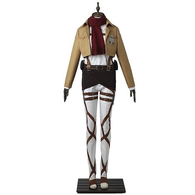 Esinlenen Attack on Titan Mikasa Ackermann Anime Cosplay Kostümleri Japonca Cosplay Takımları Solid Uzun Kollu Top Pantalonlar Önlük Uyumluluk Erkek Kadın's / Kemer / Tişört / Kemer / Tişört