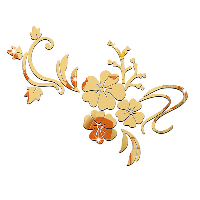 Romantizm / Aynalar / Çiçekler Duvar Etiketler Duvar Stikerları Dekoratif Duvar Çıkartmaları, Vinil Ev dekorasyonu Duvar Çıkartması Duvar / Cam / Banyo Dekorasyon 1