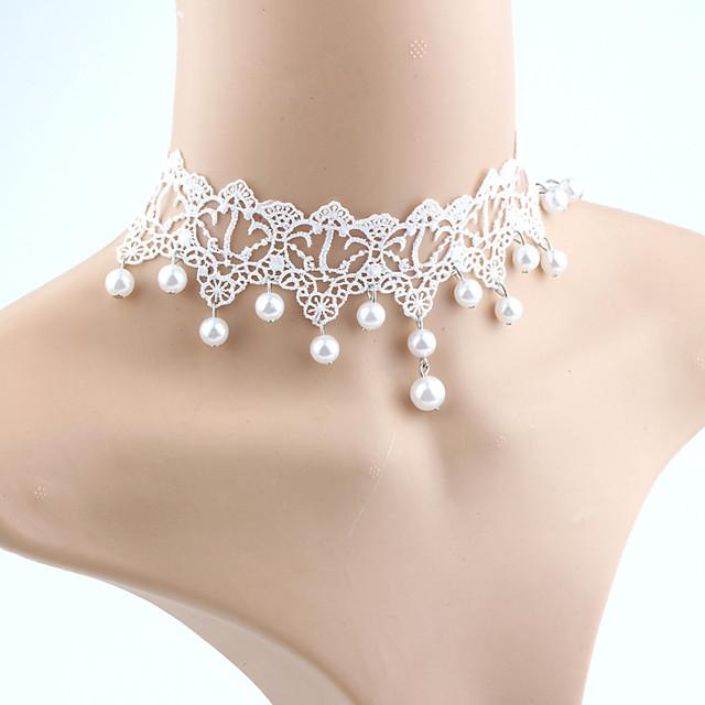 Pentru femei Perle Coliere Choker Franjuri femei Ciucure Modă Euramerican Imitație de Perle Dantelă Alb perlă Alb Coliere Bijuterii Pentru Nuntă Mascaradă Petrecere Logodnă Bal Promisiune Costume