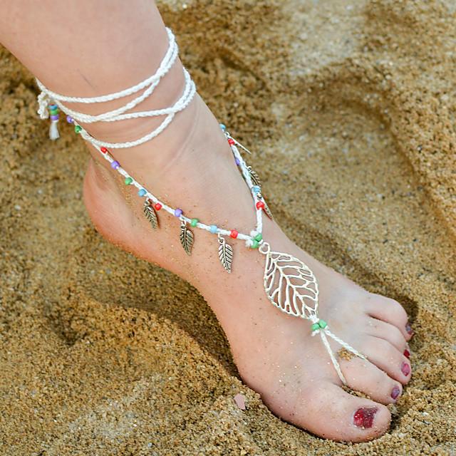 Blote voeten sandalen Dames Bohémien Dames Lichaamssieraden Voor Dagelijks Causaal Legering Bladvorm Pinky Wit Zwart