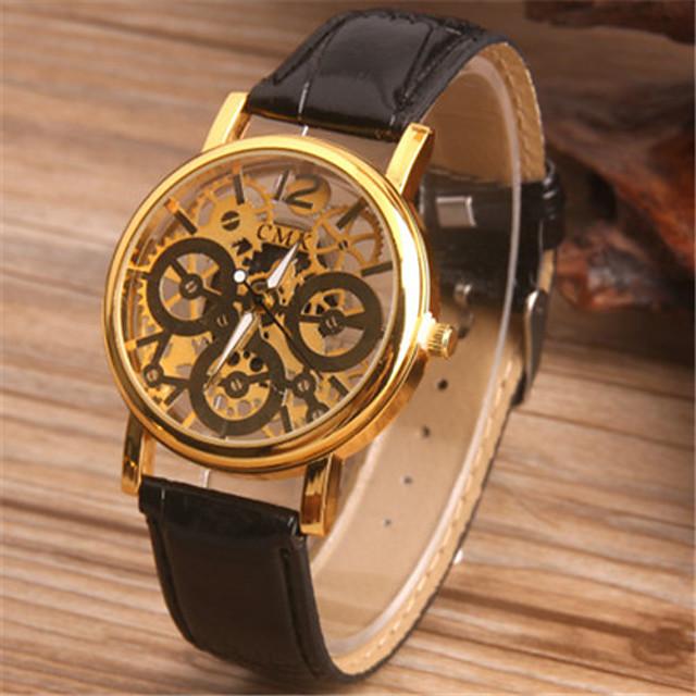 Муж. Модные часы Часы со скелетом Кварцевый Аналоговый Черный Коричневый / Кожа