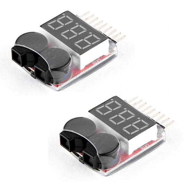 2 balení rc lipo baterie monitor alarm tester kontrola nízkonapěťový bzučák alarm s indikátorem LED pro 1-8s lipo life limn li-ion baterie