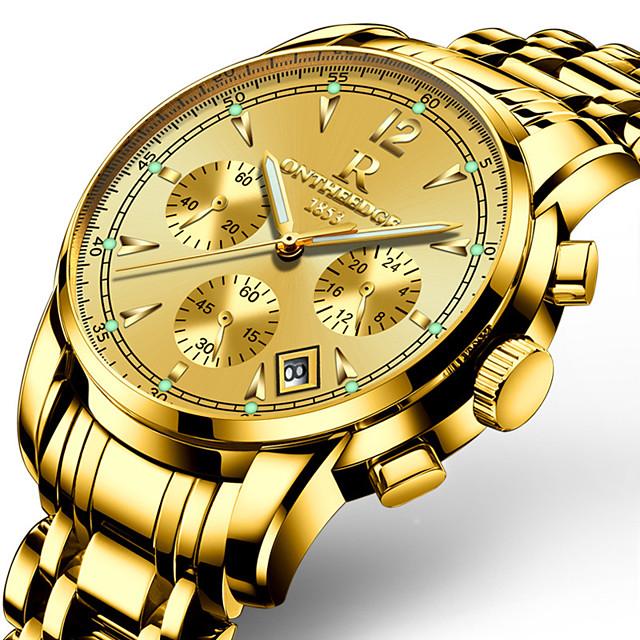 ONTHEEDGE Муж. Спортивные часы Армейские часы Наручные часы Кварцевый Трехглазый Шести игольный Кулоны Защита от влаги Аналоговый Белый / серебро Белый / Золотистый Черный / Два года / Японский