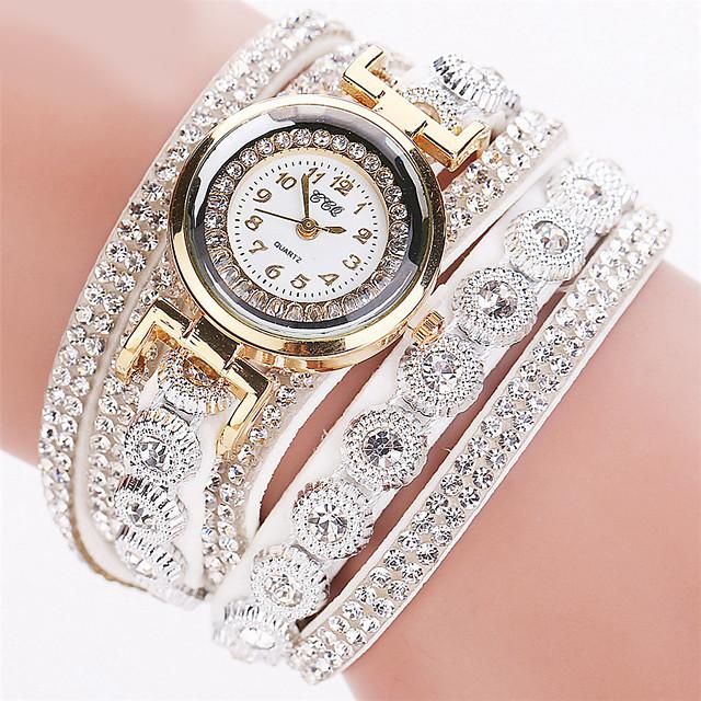 Pentru femei femei Ceasuri de lux Ceas Brățară Diamond Watch Quartz Wrap Sclipici imitație de diamant Analog Alb Negru Mov / Un an / Oțel inoxidabil / Piele / Un an / Tianqiu 377