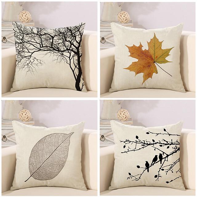 4 pièces housse de coussin en coton / lin, automne / hiver rustique carré traditionnel classique canapé à la maison décoratif