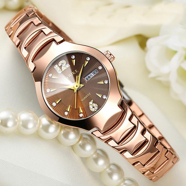Mulheres Bracele Relógio Relogio Dourado senhoras Impermeável Analógico Amarelo Dourado Preto Dourado / Dois anos / Aço Inoxidável / Aço Inoxidável / Calendário / Dois anos