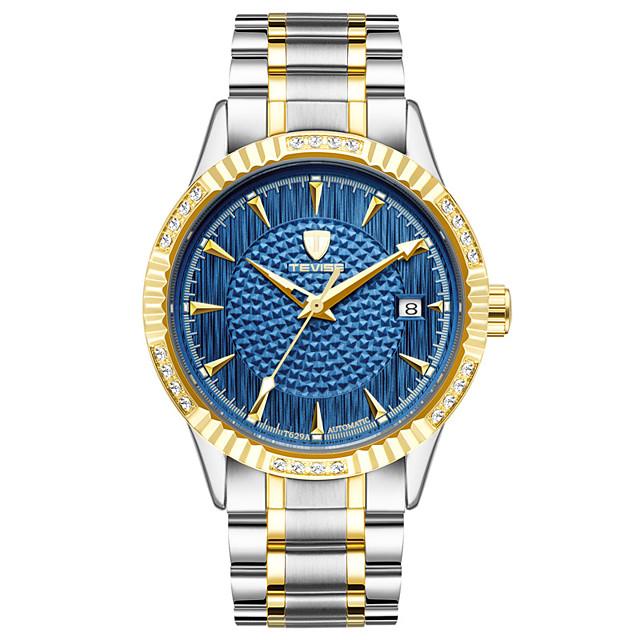 Муж. Спортивные часы Модные часы Часы со скелетом С автоподзаводом На каждый день Защита от влаги Аналоговый Белый Черный Синий / Нержавеющая сталь / Календарь / Светящийся / Фосфоресцирующий