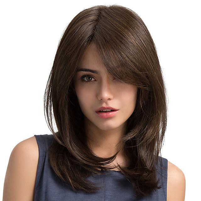 Synteettiset peruukit Suora Suora Sivuosa Peruukki Pitkä Kastanjan ruskea Synteettiset hiukset Naisten Bangsin kanssa Ruskea MAYSU