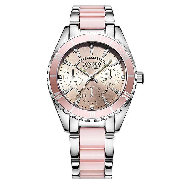 Mulheres Bracele Relógio Relógio de Pulso Quartzo senhoras Impermeável Analógico Branco Rosa claro / Dois anos / Aço Inoxidável / Aço Inoxidável / Cerâmica / Dois anos